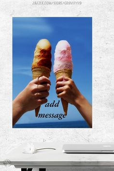 * Ice Cream with a friend ~ Summer Time Treat ~ Triple Scoop Ice Cream Cones Poster Print by #Gravityx9 at Zazzle * Add information for an event to personalize. * This poster that is available in several sizes and paper types. * Also available framed art option. * custom wall decor * home decor for walls * bedroom wall decor * wall poster * #wallposter #posterprint #customposter #icecreamposter #icecreamcone #walldecor #homedecor #wallideas #summer #summertime #icecreamcone #icecream 0621 Poster Wall, Poster Prints, Ice Cream Poster, Camping Pillows, Summer Design, Food Themes, Custom Wall, Custom Posters, Icecream