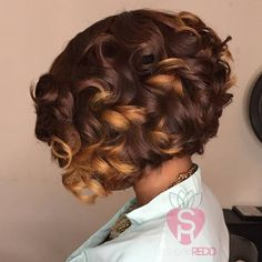 short curled bob with highlights