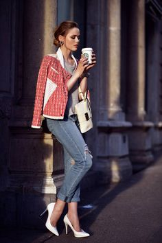 Iro White/coral Tweed Effect Leather Trim Moto Jacket