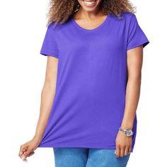 Just My Size Women's Plus-Size Short Sleeve Tee, Size: 1XL, Purple