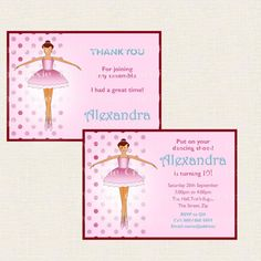 Custom Printable Ballet Themed Party Invite by TheCraftPixie