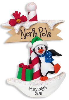 Petey Penguin Personalized Christmas Ornament Polymer Clay by Deb Co | eBay
