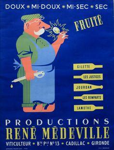 vin - Productions René Médeville, viticulteur à Cadillac, Gironde - 1950's - (A. Bourdier) -