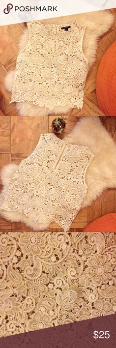 Lace tank top 🌿 Flower lace - tank top - gold trim - zipper back Forever 21 Tops Blouses