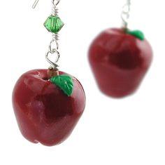Red apple earrings by inediblejewelry on Etsy, $24.00