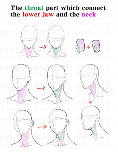 """""""How to draw the neck : Awkward part and the correcting method②"""" Neck Drawing, Human Drawing, Anatomy Drawing, Anatomy Art, Drawing Poses, Manga Drawing, Drawing Tips, Drawing Sketches, Drawings"""