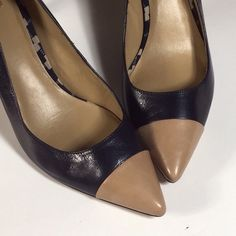 Beautiful Leather Color Block Heels Used several of times.  Wear on soles.  Has plenty of wear left.  In overall good condition Ann Taylor Shoes