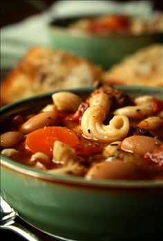 Crock Pot Pasta E Fagioli from Food.com: I came across a simliar recipe in a low fat cookbook, but changed it so much after making it several times, it's my own creation. Taste's a lot like Olive Gardens (which I love), only a little lighter.