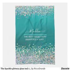 The Sparkle glittery glam teal custom Monogram Kitchen Towel Christmas Cookies Gift, Christmas Gifts For Women, Teal Colors, Best Mom, Kitchen Towels, Tea Towels, Create Yourself, Best Gifts, Sparkle