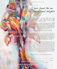 Watercolor Tree Ketubah, watercolor ketubah, Jewish marriage certificate, interfaith ketubah, modern ketubah, Jewish wedding, katuba, ketuba