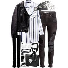 Outfit with ripped jeans and knee high boots by ferned on Polyvore featuring Stuart Weitzman, Topshop, Casetify, Maison Scotch, Zara and David Yurman