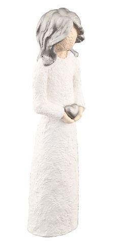 Damefigur Holder Hjerte - Sølv Hår, 21 cm Norway, Handmade, Design, Hand Made, Craft