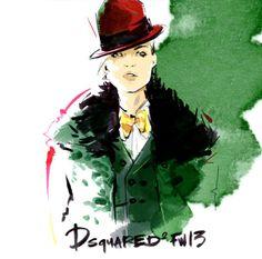 Fashion illustration I by Alena Lavdovskaya  I Dsquared fw 13 I red hat I green fur coat I water colour illustration  @monstylepin