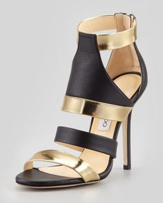 Besso Mixed-Leather Sandal by Jimmy Choo.  Absolutely love these!
