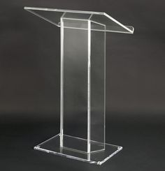 """Clear Acrylic Podium, Large Top with Lip, 28"""" x 48"""", 0.5"""" Thick Panels (LECTCVM)"""