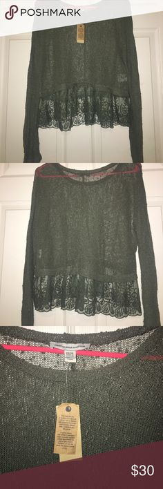 NWT American Eagle long sleeve shirt Olive green see through shirt with lace detail on the bottom. NWT American Eagle Outfitters Tops