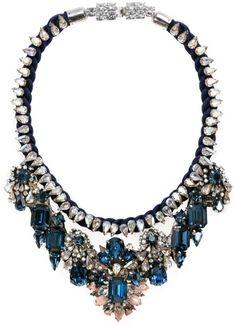 "♔Gilda Bib Necklace SHOUROUK Blue Gilda Bib Necklace Navy rope, blue, clear & pink swarovski crystals. Length 16"". Necklace falls 3"". Closure, box tab. $818"