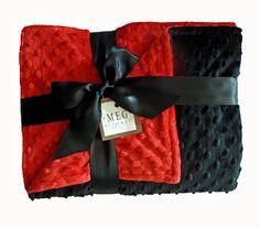 Red & Black Minky Dot Crib Blanket-baby, infant, nursery, baby room, boy, girl, preemie, layette, baby shower, cradle, gift, present, unisex, gender neutral, soft, dots, dimple, cuddle, warm, thick, meg, meg original, san diego, baby boutique, california, so cal