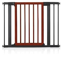When both form and function matter, the Wood & Steel Designer Gate blends the natural look of dark wood with a steel U-shaped powerframe that provides extra safety. The triple-locking mechanism and two-way opening door provide both safety and versatility.  Use virtually EveryPlace in the home  top of stairs, bottom of stairs, or between rooms.  The double-locking system on the handle is easy for adults to use, but difficult for a child.  An optional third lock offers added safety.  The ...