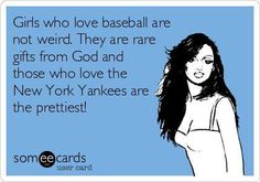 Free and Funny Sports Ecard: Girls who love football are not weird. They are a rare gift from God and those who love the Seahawks are the prettiest! Create and send your own custom Sports ecard. Yankees Baby, New York Yankees Baseball, Baseball Live, Baseball Stuff, Football Stuff, Baseball Pants, Funny Confessions, Derek Jeter, Feeling Special