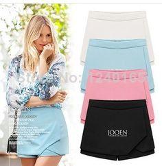 Venda quente 2014 das mulheres em camadas Shorts Irregular Zipper Cal?as Culottes Saia Curta alta qualidade SML Azul Preto Rosa Branco US $12.50 - 14.20