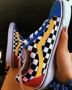 Old Skool CMYK Chex Vans Vans Old Skool Schachbrett Party Multi Color Regenbogen Schwarz Weiß Rosa Blau Rot 51 Comfy Shoes To Add To Your Wardrobe ✨ Cheap NIKE I like these slot how to order multicolor shoes Just read my boiiisss.and gurllllllssss❤️ Vans Sneakers, Tenis Vans, Girls Sneakers, Converse, Vans Shoes Fashion, Fashion Outfits, Basket Vans, Aesthetic Shoes, Boots