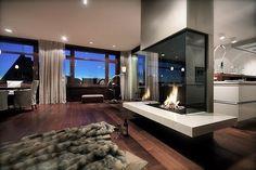 A glass fireplace!
