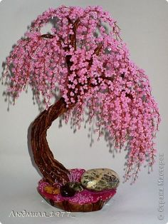 A Guide To Bonsai Trees For Beginners Seed Bead Flowers, French Beaded Flowers, Wire Flowers, Crochet Flower Patterns, Crochet Flowers, Wire Crafts, Bead Crafts, Tree Of Life Art, Wire Tree Sculpture