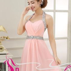 Blush pink homecoming dresses glittering halter beading short light pink party dress for teens