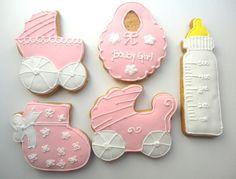 Biscoito decorado Chá de Bebê. Lindos e gostosos biscoitos amanteigados decorados com glacê real. Embalados com saquinho de celofane e laço de fita de cetim.