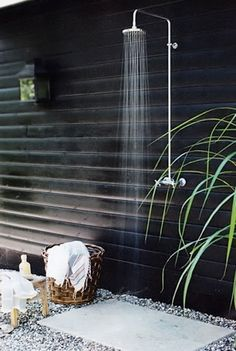 Always a sucker for the outdoor showers!! like the gravel and slate- drainage