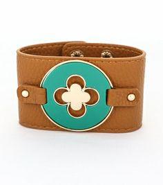 Enamel Clover Pendant Leather Snap Closure Bracelet