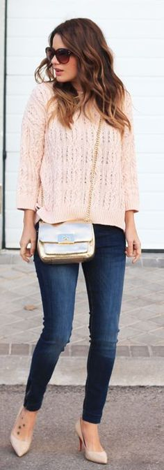 Nude And Denim Casual Outfit