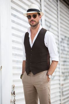 YSL Vest and Panama Hat - He Spoke Style #Men'sFashion #Jewelryland.com