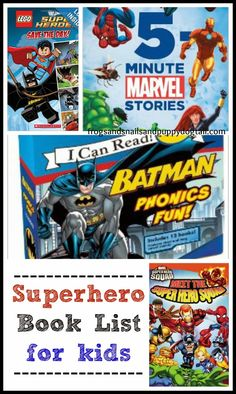 Superhero Book List for kids by FSPDT Want to find a fun book for your superhero! Here is a list for you. Check some of them out at KDL!