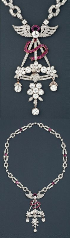 Cartier attributed - A Belle Epoque platinum, gold, diamond and ruby pendant, with an Art Deco necklace, 1910-20. The pendant is numbered and was probably made by Maison Cartier and subsequently adapted to the necklace. #Cartier #BelleÉpoque #ArtDeco #necklace #pendant