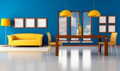 Living Room:Attractive Minimalist Blue Wall Colors Scheme Living Dining Room Design Combine With Yellow Vinyl Couch Using Bun Foot And Cone Shade Yellow Floor Lamp Cool Blue Living Room Design for Your Home Interior