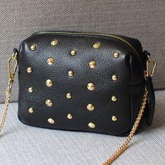 Lowest price ! New fashion Rivet women shoulder handbag PU leather Crossbody bag designer vintage women mini chain messenger bag >>> Click on the image for additional details.
