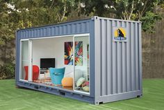 Gray 20 foot shipping container home