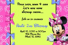 Minnie Mouse Birthday Invitations or 24 by Birthday Cheers, 3rd Birthday Parties, 2nd Birthday, Birthday Ideas, Minnie Mouse Birthday Invitations, Weekly Menu Planning, Mickey Mouse, Party Ideas, How To Plan