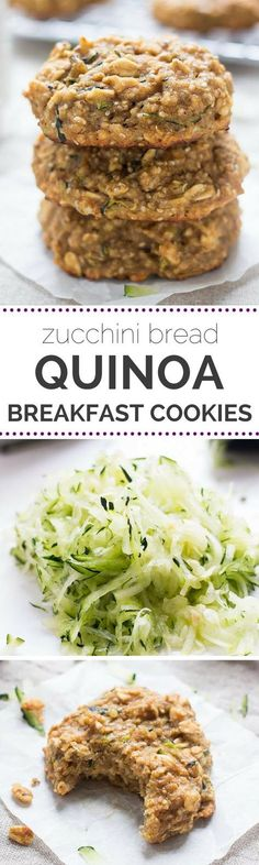 Breakfast cookies made with QUINOA that taste like zucchini bread! They're seriously amazing and come together using just 1 BOWL and a few simple ingredients. (gluten-free)