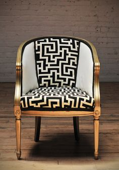 Vintage Barrel Chair Upholstered with Black and White textile and Gold Metallic Finish