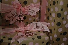Die Cut tags & ribbon name for baby shower