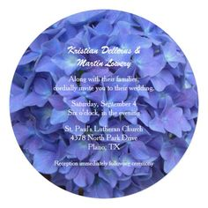 Periwinkle Blue Hydrangea Wedding Invitation done on round shaped card stock. Unique and beautiful wedding invitation. #wedding #hydrangeawedding