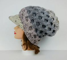Slouchy Newsboy Hat - Visor Hat - Cable Knit Hat With Brim - Women's Hat - Visor Beanie in Vanilla Bean - Chunky Cap - Winter Hat by BettyMarieJones on Etsy