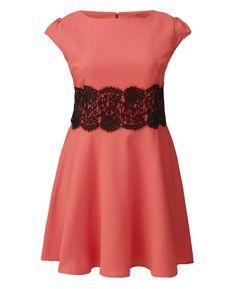 """Ax Paris"" Ax Paris Coral Lace Waist Skater Dress at Simply Be"