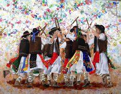 Pauliteiros de Miranda Portugal, Catholic University, Carmen Miranda, Figurative Art, Traditional Outfits, Photo Art, Painting, Samba, Amazing