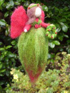 Christmas Wreath Fairy  Needle Felted Holiday