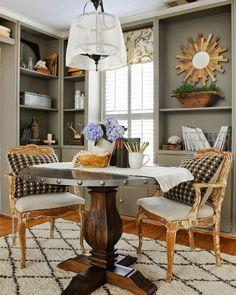 Shelves/nook for breakfast room breakfast nook perfection via @sherry711  Sherry Hart