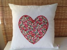Liberty heart cushion17sq. by rosiestar on Etsy, $46.00
